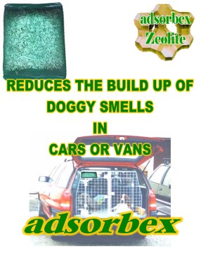 Sachet placed on top of dog cage to control dog smells in car to reduce the odour level